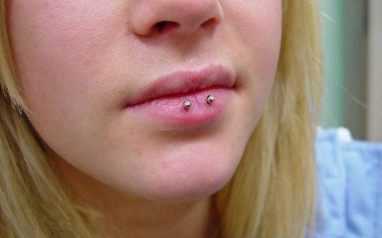 Horizontal Lip Piercing
