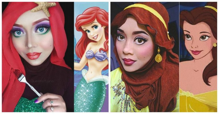 Makeup Artist Uses Hijab To Transform Herself Into Disney Characters